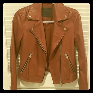 AllSaints Hadi Biker Leather Jacket Oxblood Red 4